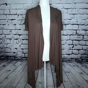 ⭐ Open Front Short Sleeve Draped Cardigan